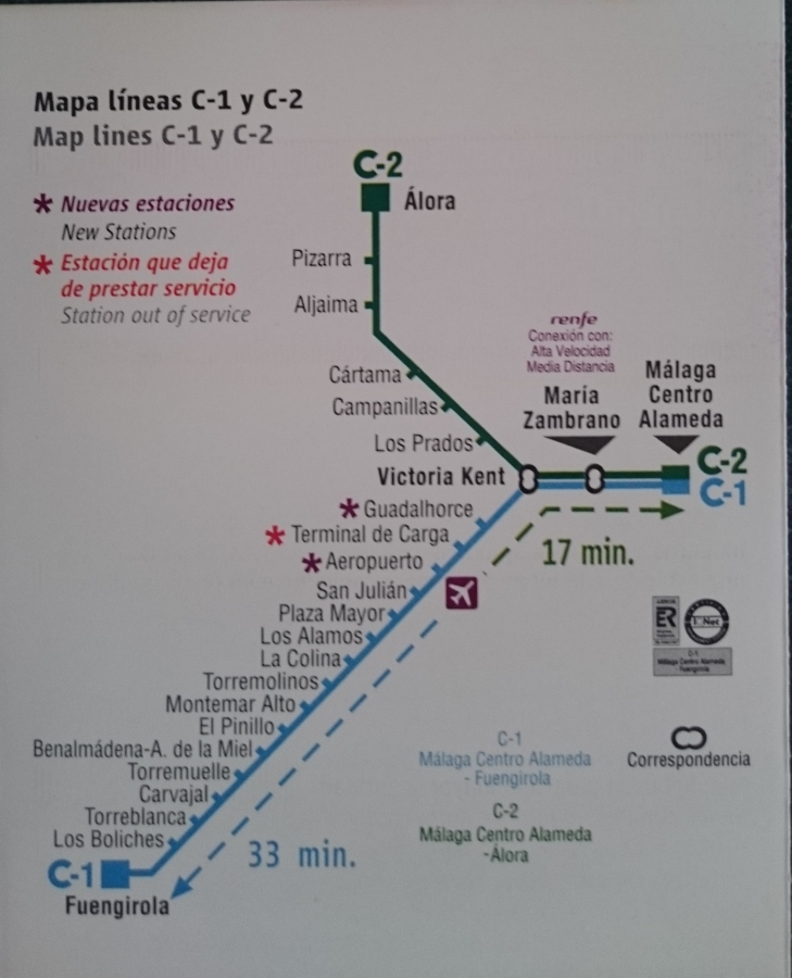 Costa Del Sol Information Map Of Train Line From Malaga Airport To Fuengirola Opt Costa Del Sol Information